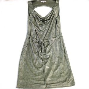 Jennifer Lopez Green Shimmer Drawstring Dress